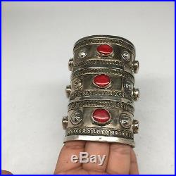 1 Pc Old Vintage Afghan Turkmen Tribal Carnelian Inlay Boho Cuff Bracelet, KB56