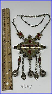 102.5g, 24 Vintage Turkmen Necklace Gold-Gilded Silver Rare Pendant, B14491