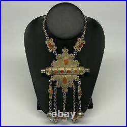 105.6g, 24 Vintage Turkmen Necklace Gold-Gilded Silver Rare Pendant, B14490