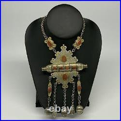 108.9g, 24 Vintage Turkmen Necklace Gold-Gilded Silver Rare Pendant, B14489