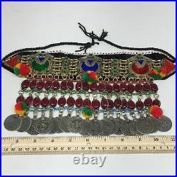 11.5x5.75Kuchi Choker Multi-Color Tribal Gypsy Bohemian Statement Coins, CK591