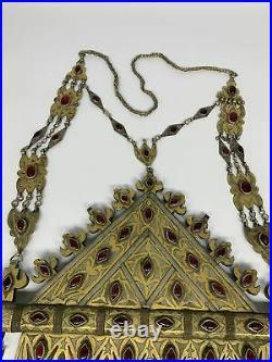 1100g, 33, Turkmen Necklace Old Vintage Huge Gold-Gilded Tomar Statement Boho