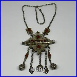 112.2g, 24 Vintage Turkmen Necklace Gold-Gilded Silver Rare Pendant, B14487