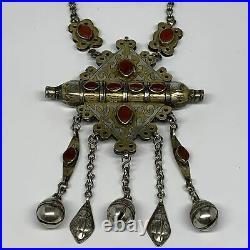 113.8g, 24 Vintage Turkmen Necklace Gold-Gilded Silver Rare Pendant, B14486