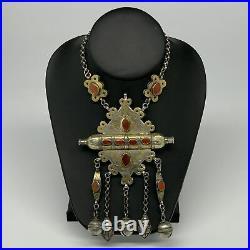 115.7g, 20 Vintage Turkmen Necklace Gold-Gilded Silver Rare Pendant, B14488