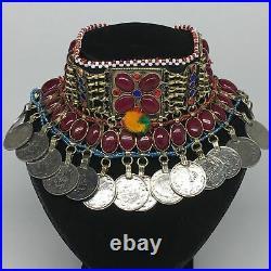 12x4.25 Kuchi Choker Multi-Color Tribal Gypsy Bohemian Statement Coins, CK537