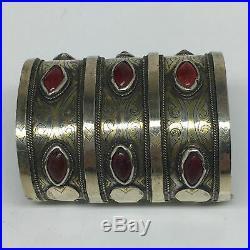 140.6g, 3.3x2.7 Turkmen Bracelet Cuff Old Vintage Gold-Gilded Statement, TN693