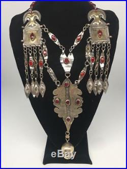 145g, Antique Afghan Turkmen Necklace Statement @Afghanistan, Gold-Gilded, TN353