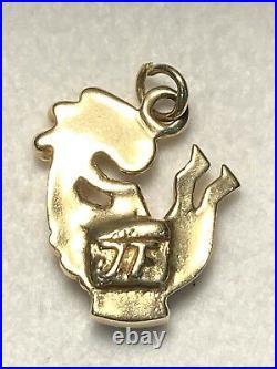 14K Gold KOPELLI Pendant w Azurite & Carnelian Navaho Signed J F 4.4 Grams Boxed