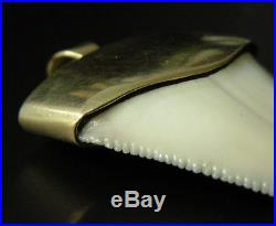 14K Solid 100% Gold Capped Great White Shark Tooth Scuba Diving Diver Pendant