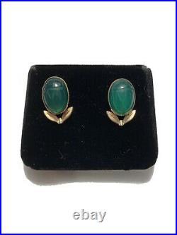 14k Gold Vintage Scarab Beetle Earrings
