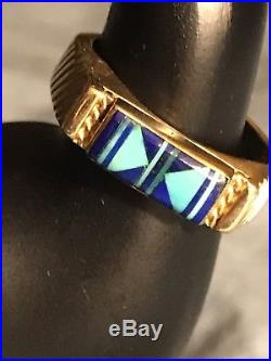 14k Yellow Gold Navajo Turquoise Lapis Inlay ring size 10