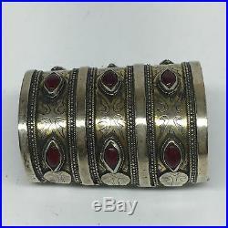 152.3g, 3.5x2.5 Turkmen Bracelet Cuff Old Vintage Gold-Gilded Statement, TN692