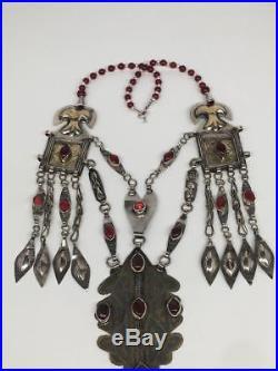 152.3g, Antique Afghan Turkmen Necklace Statement @Afghanistan, Gold-Gilded, TN350