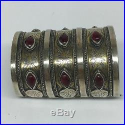 160.7g, 3.4x2.5 Turkmen Bracelet Cuff Old Vintage Gold-Gilded Statement, TN691