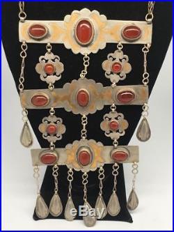161.9g, Old Vintage Afghan Turkmen Necklace Tribal Gold-Gilded Carnelian, TN241