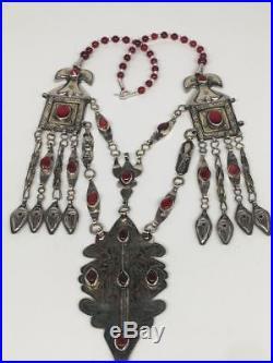 167.8g, Antique Afghan Turkmen Necklace Statement @Afghanistan, Gold-Gilded, TN354