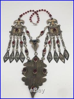 167.9g, Antique Afghan Turkmen Necklace Statement @Afghanistan, Gold-Gilded, TN349