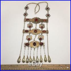 173.6 Grams Old Vintage Afghan Turkmen Tribal Gold-Gilded Carnelian Necklace, TN