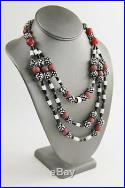 18 Vintage Ethnic Tribal Boho Chic Multi Strand Glass Bead Statement Necklace