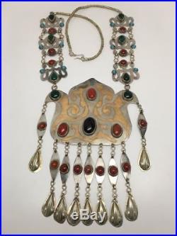 189.8 Grams Old Vintage Afghan Turkmen Tribal Gold-Gilded Carnelian Necklace, TN