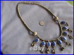 19.7 Vintage Antique Tribal Ethnic Bib Necklace Lapis Dangles 76.4 Gms