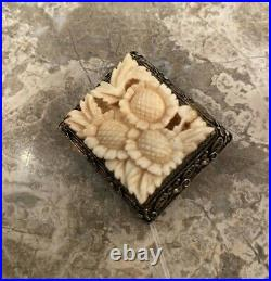 1920s Sterling Silver Chinese Pin Brooch