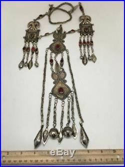 199 Grams Old Vintage Afghan Turkmen Tribal Gold-Gilded Pendant Necklace, TN94