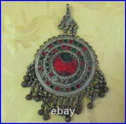 19c. Antique Folk Art Handmade Silver Plated Bronze Pendant / Head Piece