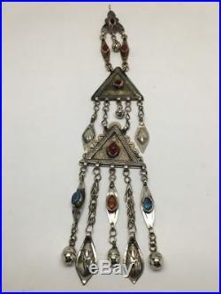 1pc Old Afghan Turkmen Tribal ATS Tassel Pendant Gold-Gilded German Silver, TN98