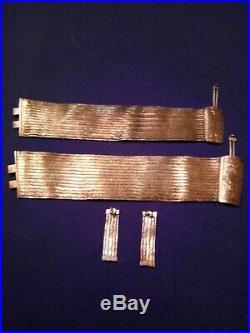 2 VTG Trabzon Turkey 930 Silver Woven Bracelets & 900 Silver Earrings 97g