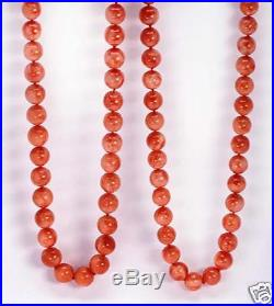 2 estate matching pink coral necklaces with 14K gold clasp, 32 inches long each