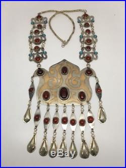 201.7 Grams Old Vintage Afghan Turkmen Tribal Gold-Gilded Carnelian Necklace, TN