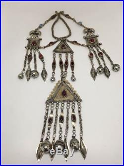 214 Grams Old Vintage Afghan Turkmen Tribal Gold-Gilded Pendant Necklace, TN95