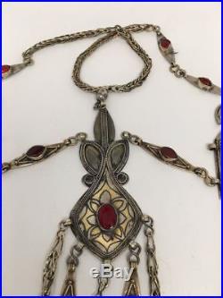 216 Grams Old Vintage Afghan Turkmen Tribal Gold-Gilded Pendant Necklace, TN96