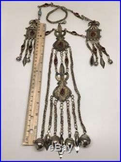 232 Grams Old Vintage Afghan Turkmen Tribal Gold-Gilded Pendant Necklace, TN93