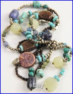 29 Vintage Chinese Export Gemstone Necklace Jade Shou Bead Turquoise Lapis +