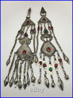 2x Old Vintage Afghan Turkmen Tribal Bib ATS Tassel Hair Clip Pendant 14, TN110