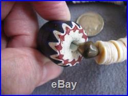 30 Vintage Antique Venetian Chevron African Glass Trade Bead Necklace 129.8 Gms