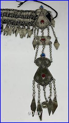 310g, 12 Vintage Turkmen Headdress Headpiece Tribal @Afghanistan, B14483