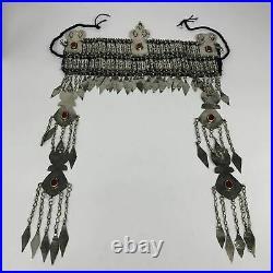 330g, 13.5 Vintage Turkmen Headdress Headpiece Tribal @Afghanistan, B14478