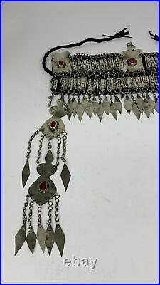 375g, 13.5 Vintage Turkmen Headdress Headpiece Tribal @Afghanistan, B14485