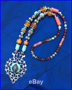 4 Sterling Moroccan Door Knocker Necklace Multi-cultural Amber Coral Turquoise