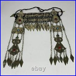 420g, 11.5 Vintage Turkmen Headdress Headpiece Tribal @Afghanistan, B14482