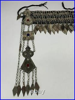 440g, 12.5 Vintage Turkmen Headdress Headpiece Tribal @Afghanistan, B14476