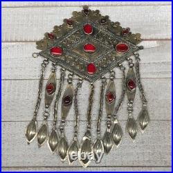 8.25x5.5,123g, Vintage Afghan Turkmen Pendant Gold-Gilded Bib Statement, TE159