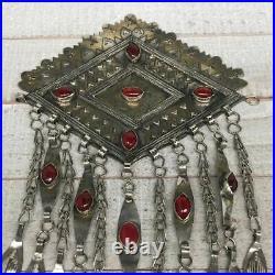 8.25x6,118.6g, Vintage Afghan Turkmen Pendant Gold-Gilded Bib Statement, TE161