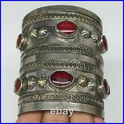 83.2g, Turkmen Bracelet Cuff Old Vintage Tribal Carnelian Inlay, Statement TN540