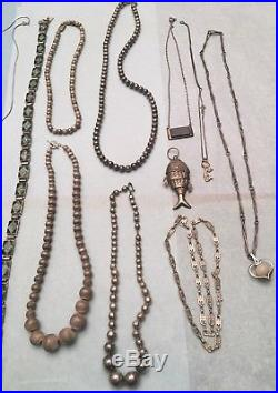925 Sterling Silver LOT 30 Jewelry Necklaces Bracelet Pins So. West Mexico 533gr