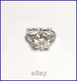 9MM Off White Round Moissanite Diamond Engagement 1920s Vintage Ring 10K Gold